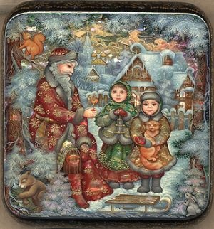 "Village of Kholui, artist Olga Feodorova, ""Christmas Meeting"". Size 4 x 4 inches.  This seems like the perfect holiday box to me."
