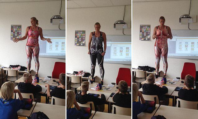 Dutch biology teacher strips off in classroom to reveal spandex suit