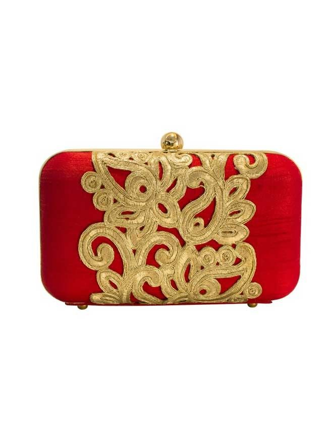 Statement- Red/Gold - Red/Gold Embroidered Raw Silk Clutch
