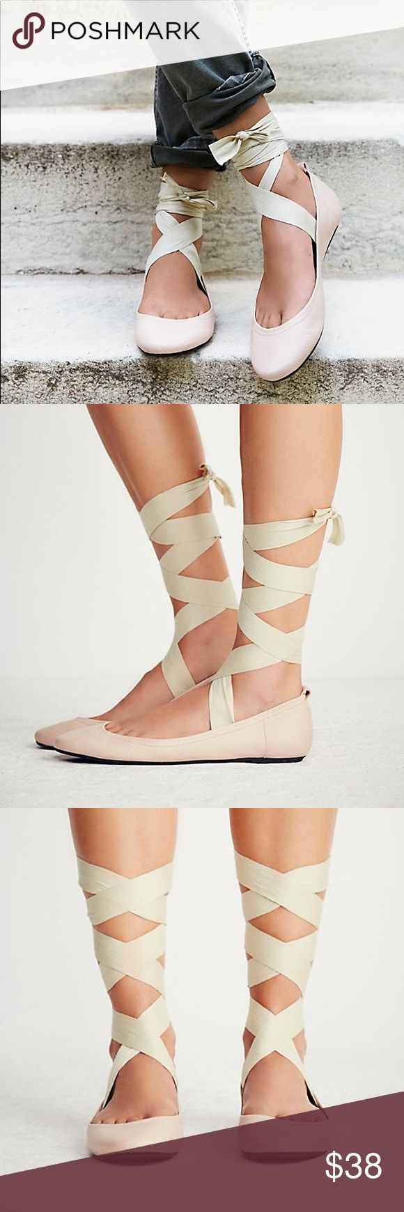 Free People Degas Flats New NWOT  Free People Degas ballet flats. Light pink leather shoe with off-white cream lace up ribbon straps. Tie at the ankle. Made in Spain. Size 38. Light wear from store handling Free People Shoes Flats & Loafers