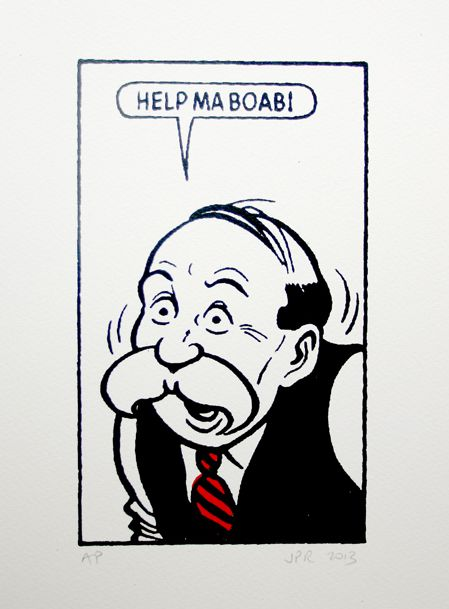 John Patrick Reynolds Comic Art Paw Broon says Help ma boab!. Limited Edition Silkscreen Print on cotton paper signed by the printer | Scottish Contemporary Art