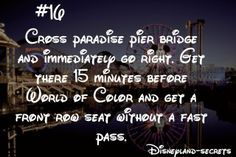 World of Color absolutely amazing! Another thing me and my fam like to do when we stay at paradise pier instead of going out to the park with all the people look out the floor window or get a reservation at Ariel's and you get dinner and a show!                                                                                                                                                     More