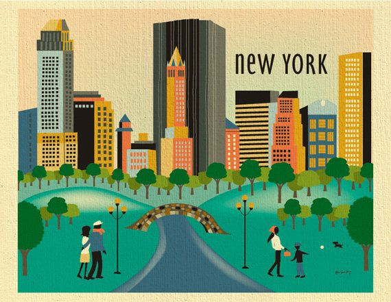 New York City Central Park Daytime Scenery - Travel Destination Wall Art Print - style E8-O-CP