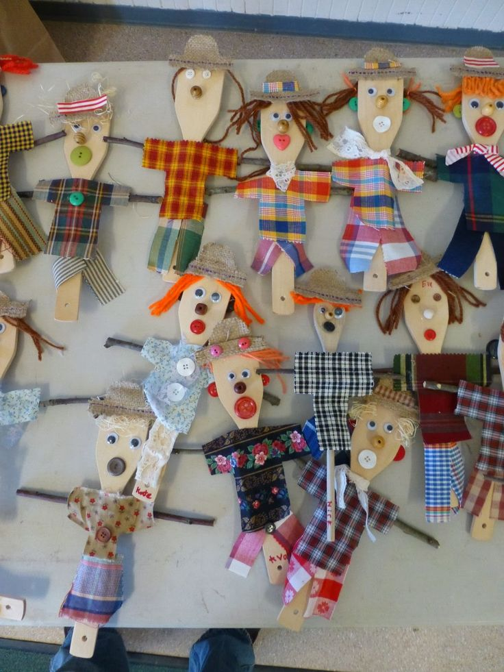 Scarecrows from spoons.  Could use Lg. popsicle sticks as well.