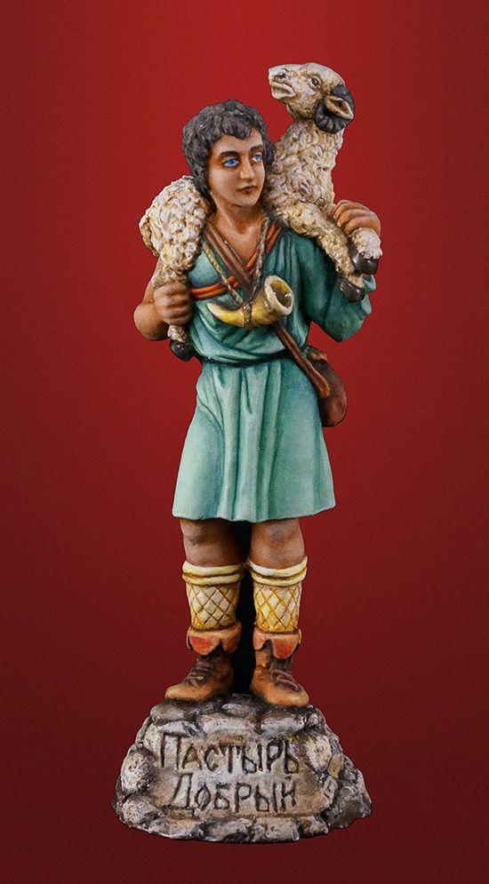 Оловянная миниатюра: Христос Пастырь Добрый. Художественная роспись. Артикул: 085r