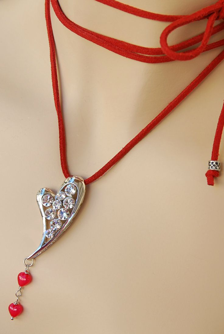Red Wrap Choker Necklace, Red Suede Choker, #redjewelry  Red Necklace, Heart Pendant Necklace, Necklace with Hearts, Love Necklace #valentinesday #gift_for_her