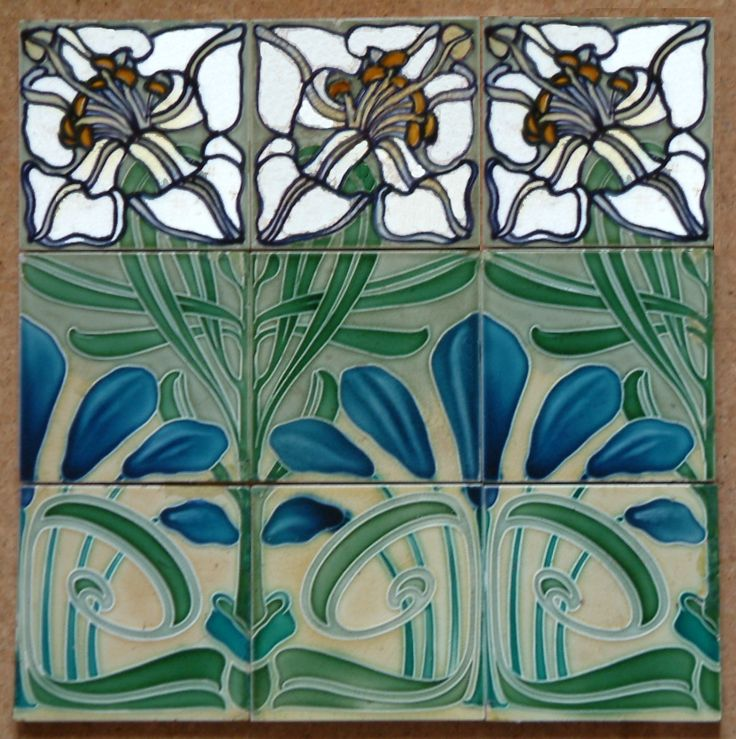 ¤ Jugendstil Nine tiles panel by Villeroy & Boch Mettlach, Germany Size - 9 tiles x 150mm x 150mm Date - c1900  Materials and Techniques - Dust pressed and moulded
