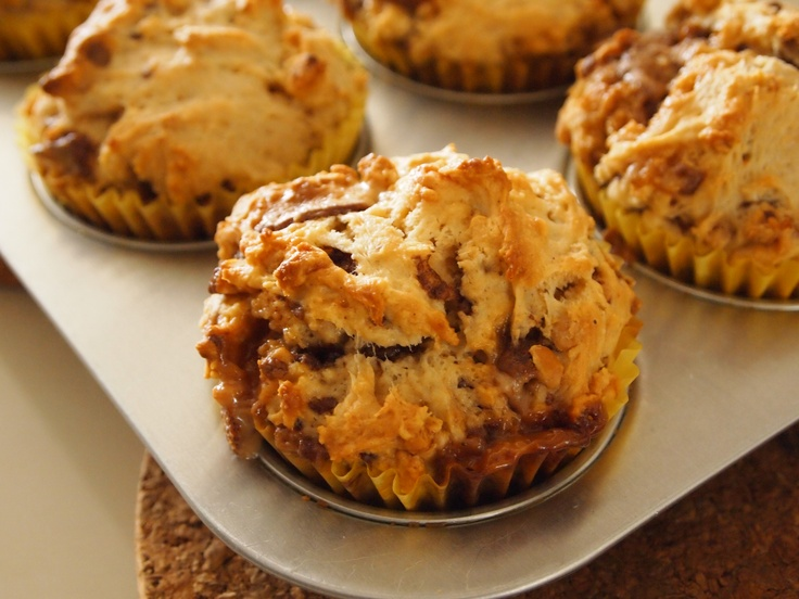 Peanut Butter and Snickers Muffins.  Recipe:  Nigella Lawson.