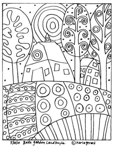 Alfombra-De-Enganche-Craft-patron-de-papel-Barn-jardin-paisaje-Arte-Popular-Karla-Gerard