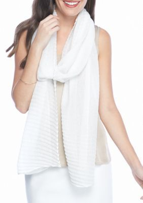 Collection Xiix Women's Lurex Pleat Long And Skinny Scarf - White - One Size