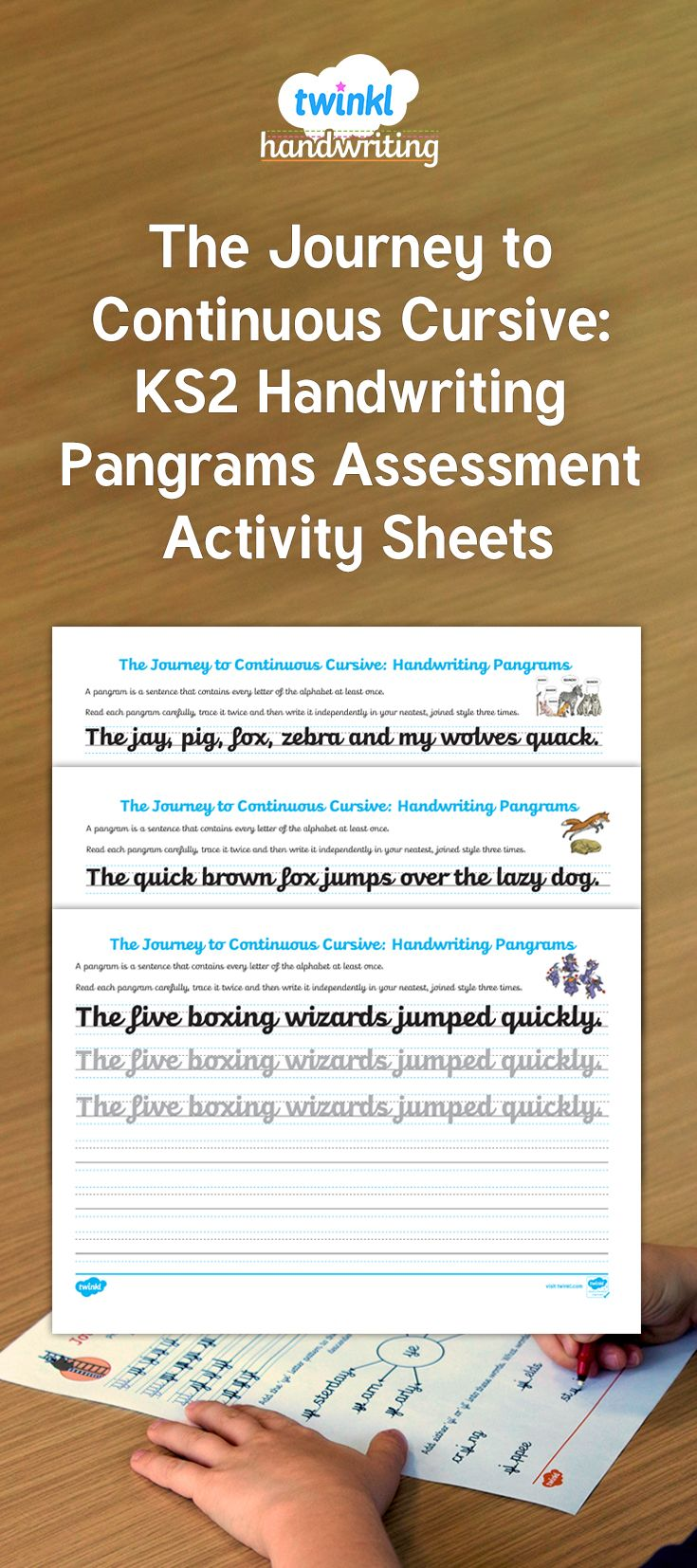Use these handwriting pangram assessment activity sheets