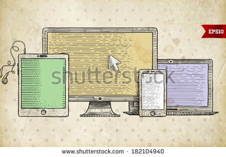 Vintage Engraving Style Icons. Mobile Phone, Tablet PC. Responsive Web Design. Retro Art. by Ozerina Anna, via Shutterstock