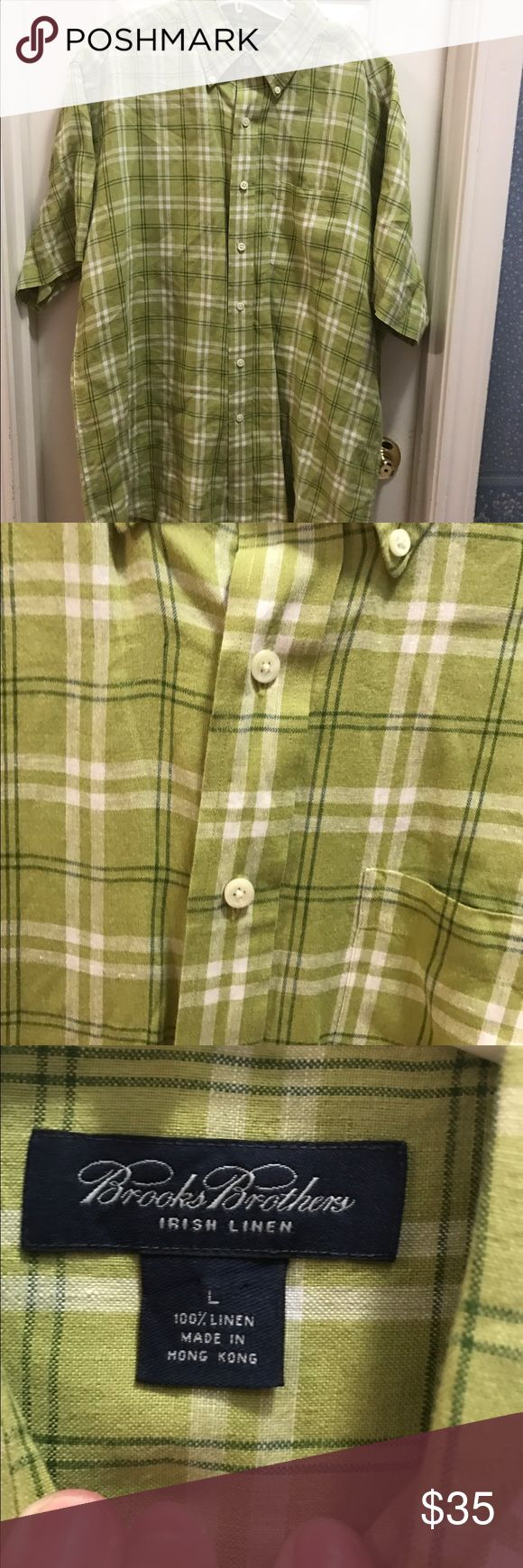 NWOT 💙BROOKS BROTHERS💙Men's Linen shirt NWOT ** BROOKS BROTHERS** Irish Linen Shirt. Lime green shirt with dark green and white stripes. Size L Brooks Brothers Shirts Casual Button Down Shirts