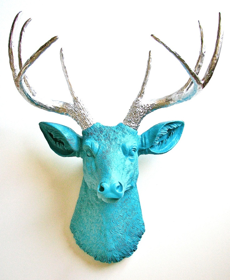 Blue and silver faux deer mount faux taxidermy deer