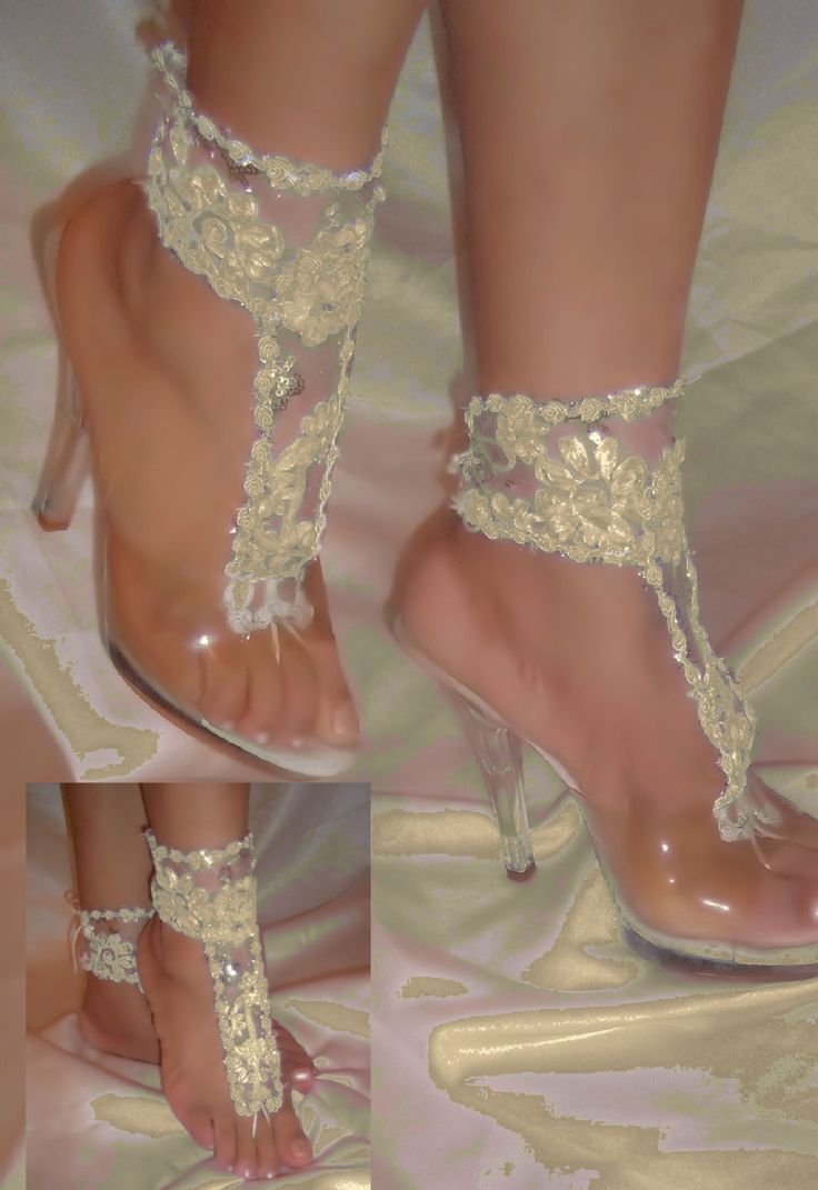Ivory Barefoot Sandals, Ivory Flower Lace Barefoot Sandals, Beach Bridal Sandals, Wedding Sandals, Beach Wedding Sandals, Ivory Sandals