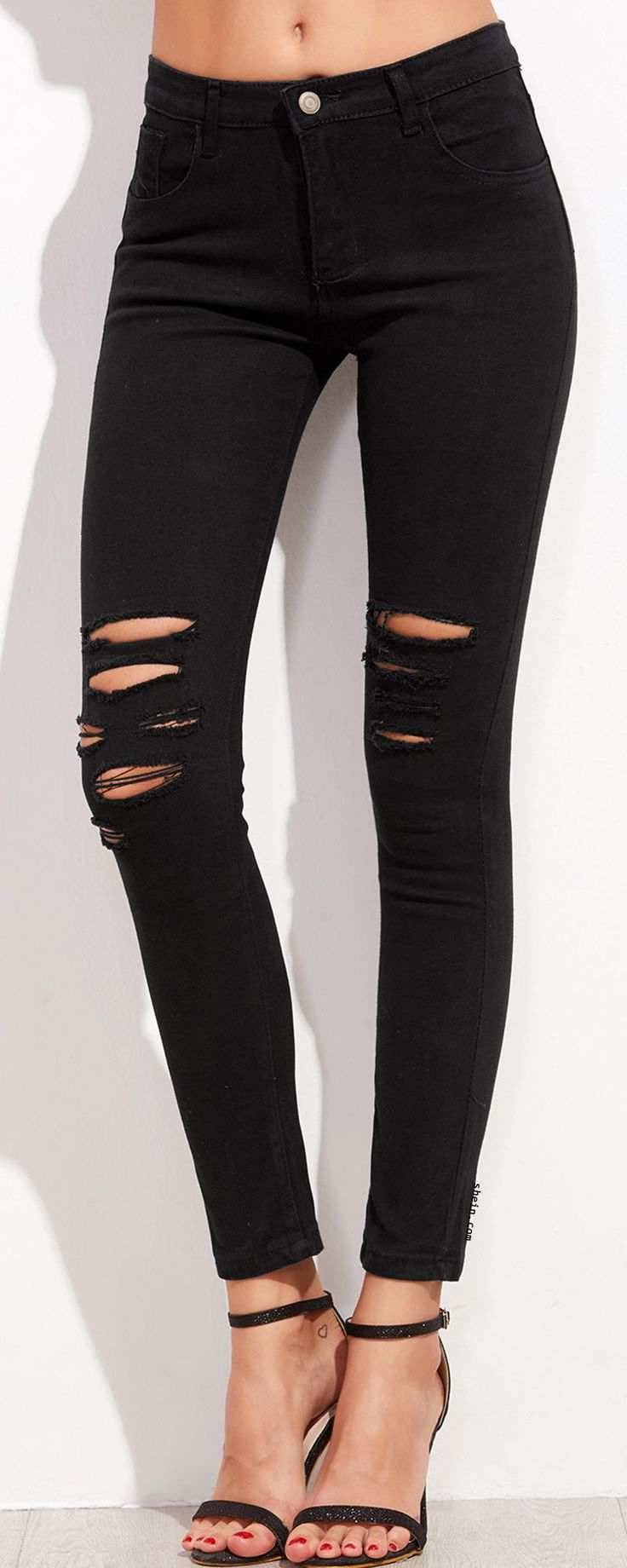 1000  ideas about Black Ripped Jeans on Pinterest | Outfits with