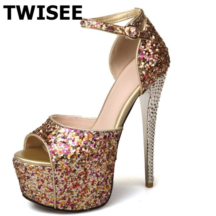 39.75$  Buy here - http://aliw1g.shopchina.info/go.php?t=32803164432 - Bling Buckle Strap woman wedding shoes peep toe Ladies shoes woman sandals Thin Heels 13 cm platform Solid summer sandals  #bestbuy