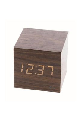 Radio-réveil Otio Thermomètre cube finition effet chêne