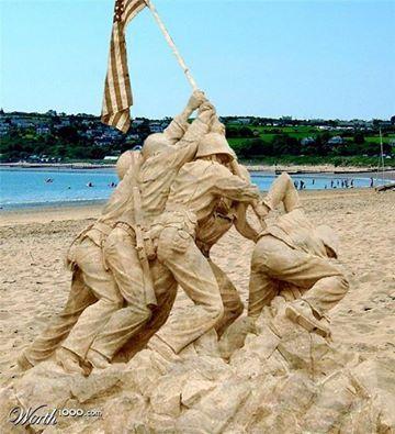 Raising Of The American Flag At Iwo Jima Sand Art!