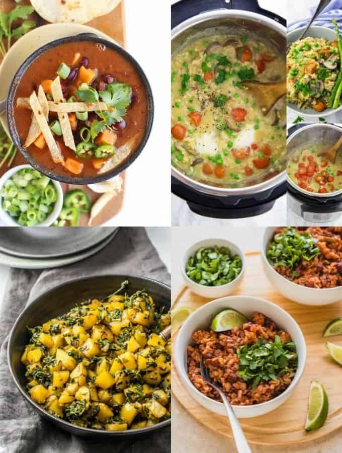 A Collage Of Vegan Instant Pot Recipes Vegan Instant Pot Recipes Vegan Dinner Recipes Easy Vegan Recipes Healthy