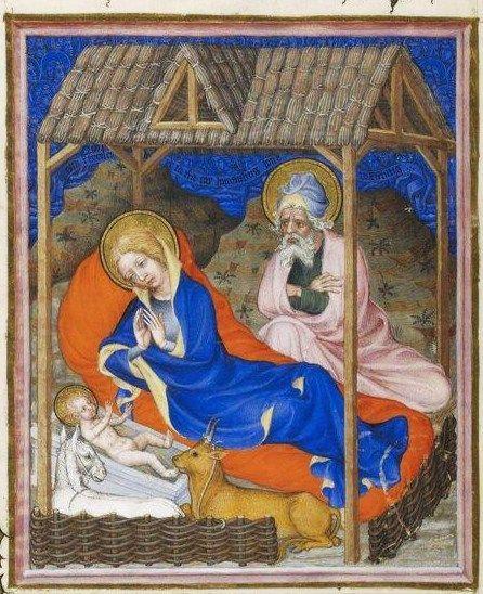 The Nativity  Très Belles Heures de Notre-Dame du Duc de Berry c. 1380 Manuscript (Ms. nouv. acq. lat. 3093), 280 c 200 mm Bibliothèque Nationale, Paris