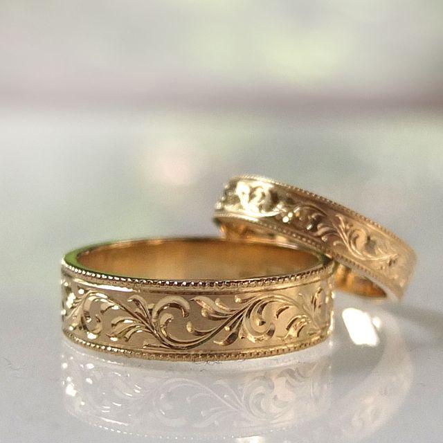 Wasze Obrączki z żółtego złota z ręcznie grawerowanym ornamentem. http://waszeobraczki.pl
