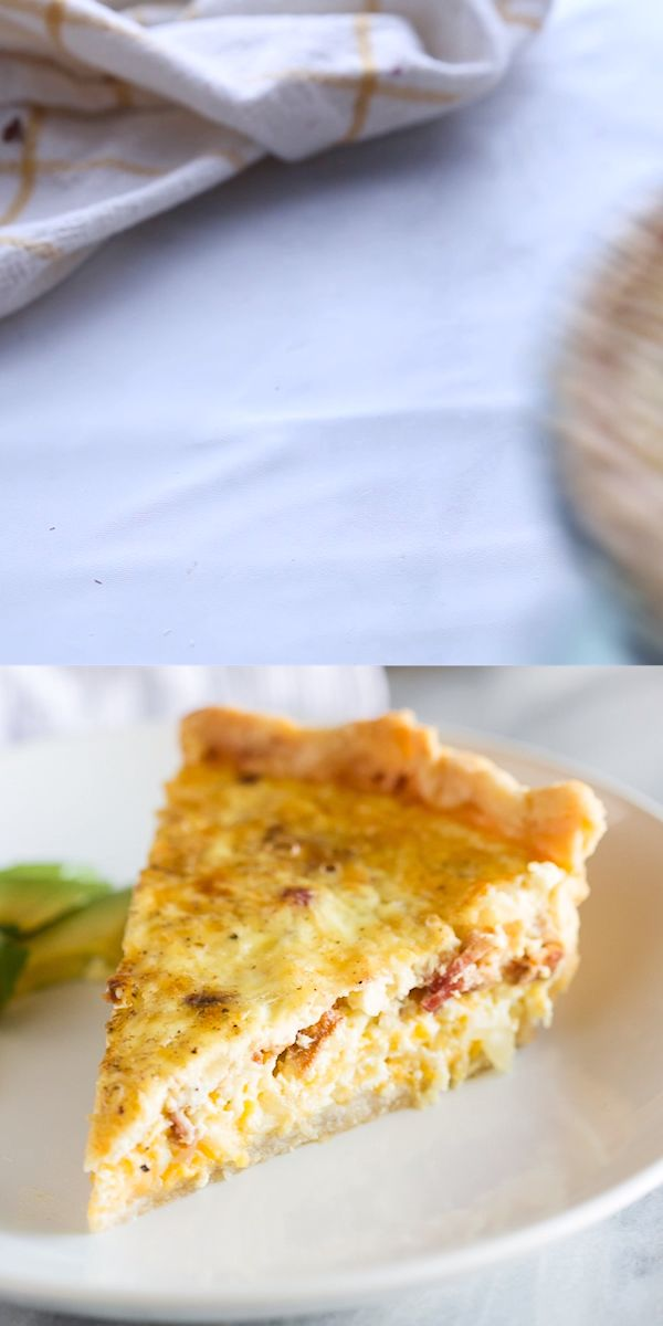 An easy Quiche Lorraine recipe made with cheddar, swiss, parmesan cheese, and bacon served in a flaky pie crust. A classic recipe inspired by Julia Child's Quiche Lorraine.