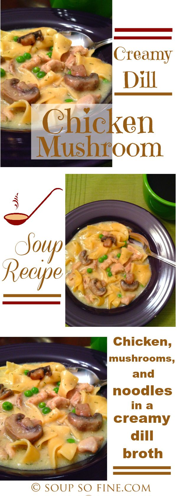 A delicious chicken and mushroom soup recipe rich with wide egg noodles and green peas in a creamy dill broth. Wonderful!