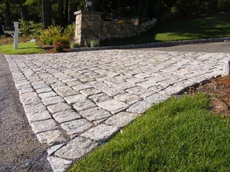 Cobblestone driveway apron granite walkways and natural for Driveway apron ideas