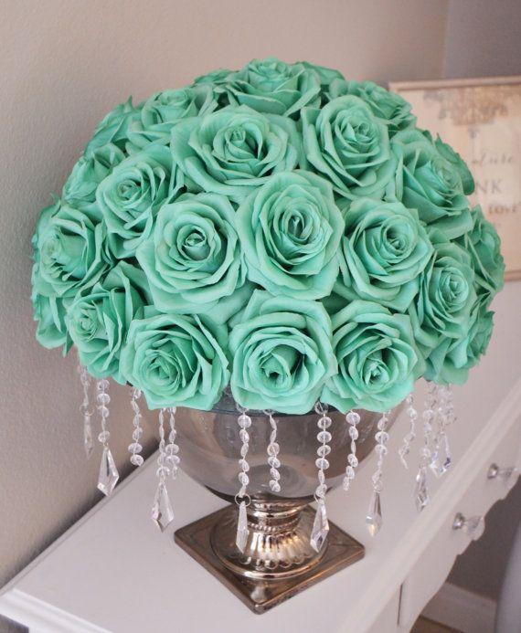 Mint rose arrangement half flower ball pomander real