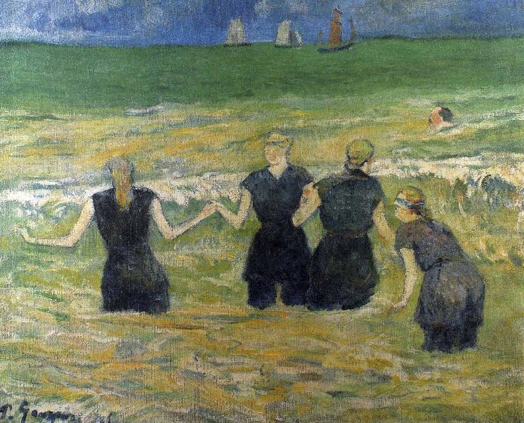 Paul Gauguin - Post Impressionism - Les baigneuses à Dieppe - Bathing Beauties in Dieppe- 1885