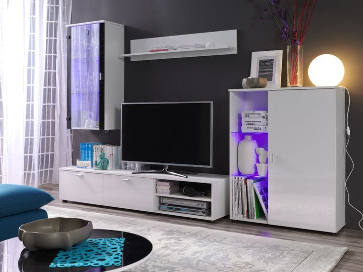 TV STANDS / WALL TV UNIT / WHITE/WHITE  HIGH GLOSS LIVING ROOM FURNITURE SET