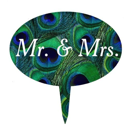"""Affordable Peacock Feather Cake Topper. Unique, customizable, """"Mr. & Mrs."""" cake topper features a genuine peacock feather pattern in green, teal. blue, navy, purple, and black. Perfect to place on your peacock feather themed wedding cake. Personalize the text for your bridal shower, vow renewal, anniversary, engagement party, birthday party, etc. Personalize multiple toppers and use them for labeling the goodies on your sweets or dessert table. #peacock #feather #cake #topper #top"""