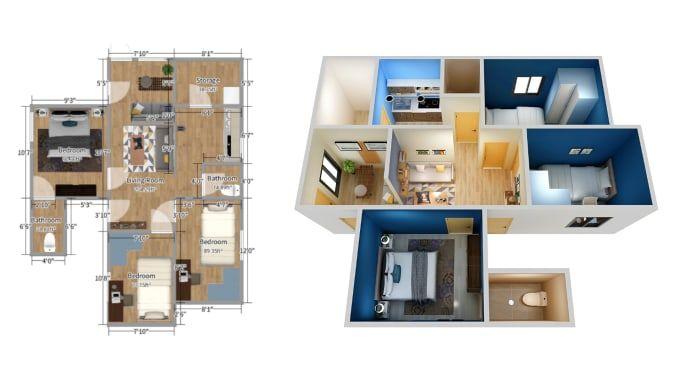 Wisnuharicoyo I Will Do 2d Floor Plan 3d Floor Plan Visualization Images For 5 On Fiverr Com Book Design Layout Interior Architecture Design Floor Plans