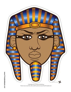 This Egyptian pharaoh mask is decorated with a blue and gold headdress, called the nemes, as well as the traditional false beard. When you wear this mask, you'll look just like Egyptian royalty! Free to download and print