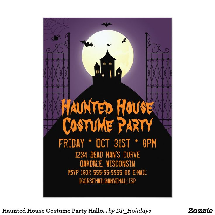 Haunted House Costume Party Halloween Card An Eerie Halloween