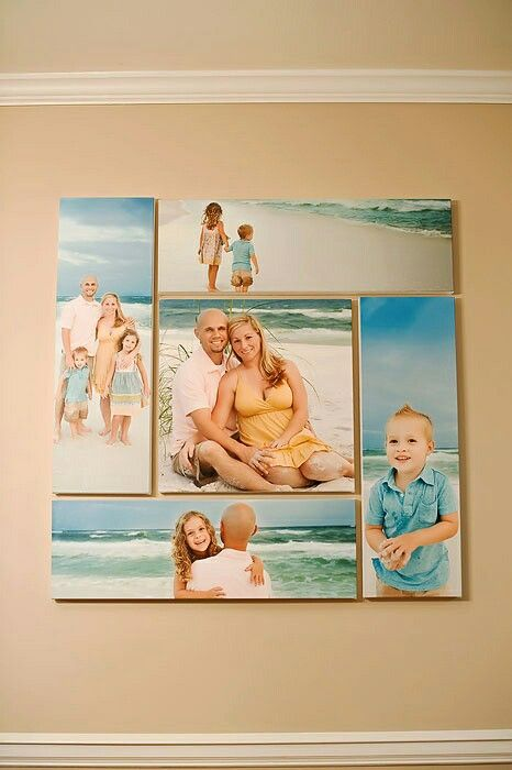Great way to decorate one wall. Take own pics and have canvases made through Costco or shutterfly.