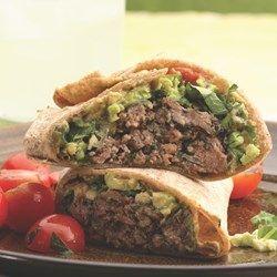 Southwestern Beef & Bean Burger Wraps - EatingWell.com