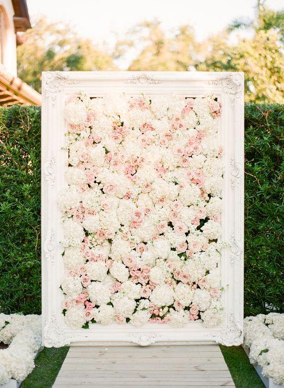 hydrangeas and blush roses wedding altar / http://www.himisspuff.com/beautiful-hydrangeas-wedding-ideas/6/
