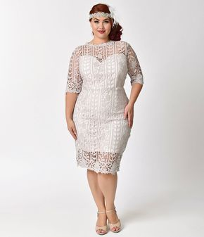 Unique Vintage Plus Size Vintage Style Lilac Grey Half Sleeve Lace Fitted Wiggle Dress