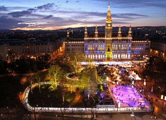 Drank deliciously warm Glühwein (hot mulled wine) at Christmastime in this square in Vienna, Austria.