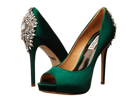 Badgley Mischka Kiara Emerald Green Satin - Zappos.com Free Shipping BOTH Ways