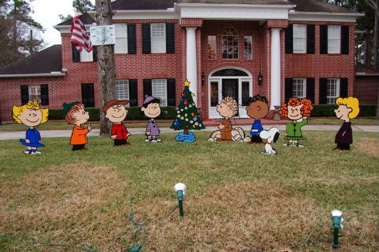 Well, It's Never Boring Around Here!: Charlie Brown Christmas Yard Art