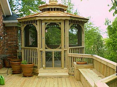 Screened Gazebo on Deck , like the bench idea too