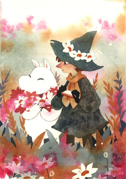 Picking flowers. Little painting of Moomin and Snufkin. I like to imagine Moomin is going to take all of those lovely plump flowers back home to his mother. I really love these two and their overload adorable friendship. Wip pictures, sketches and a...