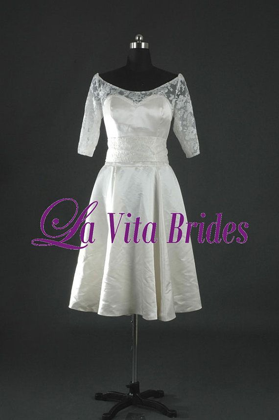 Boat neck lace short wedding dress 3 4 sleeves by for Boat neck lace wedding dress