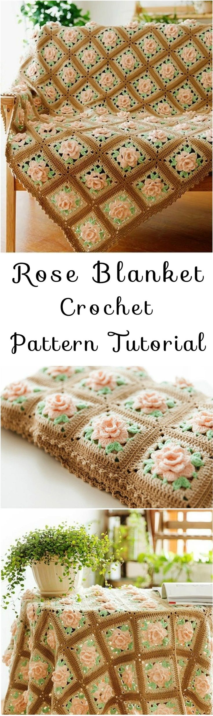 Rose Blanket Crochet Pattern Tutorial.  Consider using black instead of the brown.