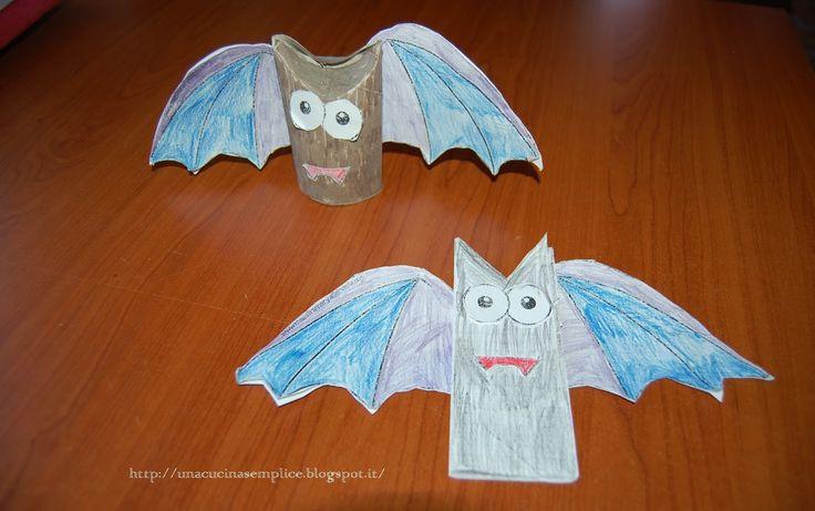 Tante piccole idee realizzate: Pipistrelli di Halloween fatti riciclando i rotoli d carta igienica.