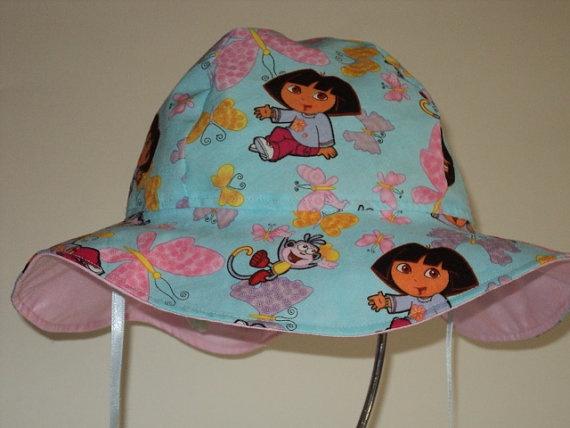 Dora  Sun Hat Size 2 to 4  Girls Floppy Hat Dora by AuntBsBonnets, $16.00