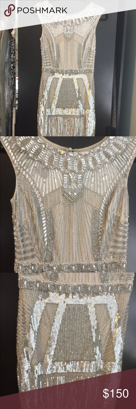 Aidan Mattox gray sequin dress Sequin dress. In great condition. Has one row of sequins missing- see photo. Aidan Mattox Dresses Mini